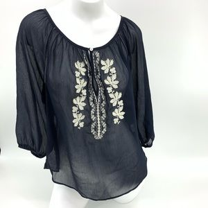 HOLLISTER Sheer Embroidered Top XS